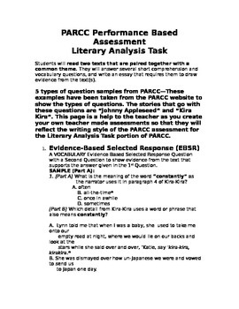 5 Question Samples for the Literary Analysis Task portion of PARCC