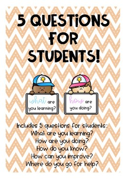 5 Questions for students posters