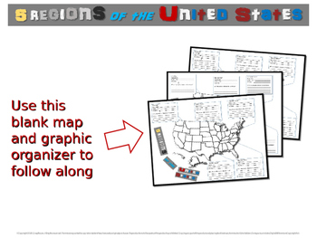 NEW! 5 REGIONS OF THE UNITED STATES: 40 follow-along PPT slides with map handout