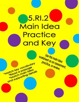 5.RI.2 Main Idea Practice Worksheet