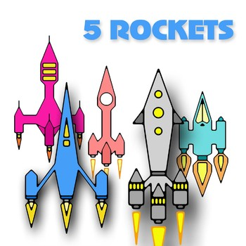5 ROCKETS / Spaceships CLIPARTS