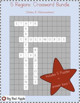 5 Regions: Crossword Bundle (State Abbreviations)