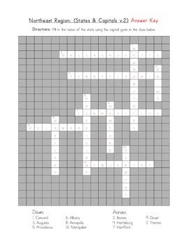 5 Regions: Northeast Crossword (States & Capitals v.2)