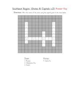 5 Regions: Southwest Crossword (States & Capitals v.2)
