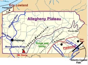 5 Regions of Pennsylvania Map (SMARTboard)