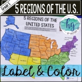 5 Regions of the United States Map Activity (Print and Digital)