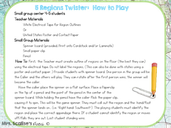 5 Regions of the United States Twister Printable Game