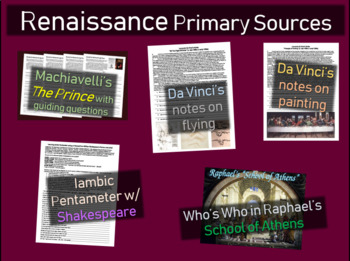 5 Renaissance Primary Source Documents (w activities, guid