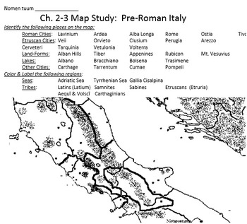 5 Roman Map-Study worksheets