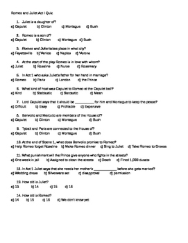 5 Romeo and Juliet Quizzes With Answer Keys