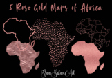 5 Rose Gold Maps of the African Continent.