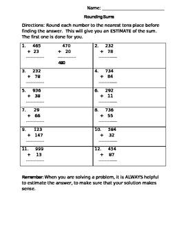 5 Rounding Worksheets / Written Tasks