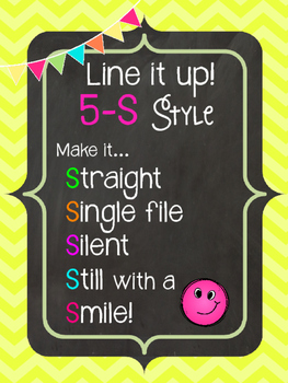 5-S Style Line Poster Chant {Chalkboard Neon}