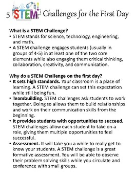 5 STEM Design Challenges for the First Day of School {BONUS Student Handouts}