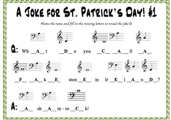5 Saint Patrick's Day Jokes Decoded by Naming Musical Notes