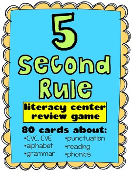 5 Second Rule {Literacy Review - Center Activity Game}