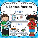 Five Senses Sort Puzzles for a 5 Sense Kindergarten Center Activity