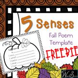 5 Senses 4 Seasons Fall Poem FREEBIE (Sample)