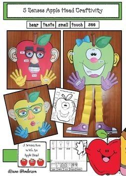 5 Senses Apple Head Craft + Activities