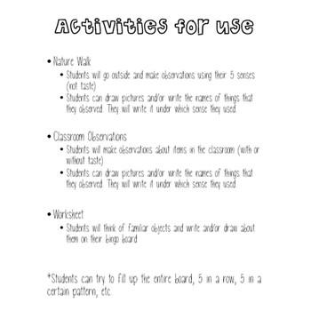 5 Senses BINGO Activity