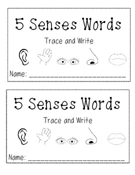 5 Senses Book- Trace and Write