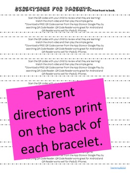 5 Senses Homework Bracelets with QR Codes {Kindergarten}