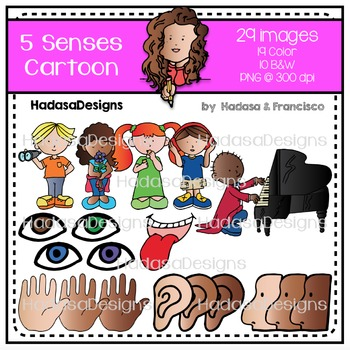 5 Senses Cartoon Clip Art Set