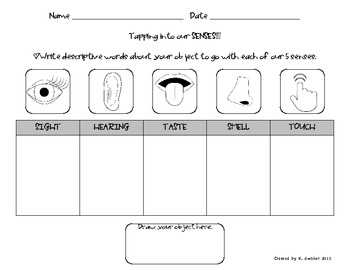 5 senses chart describing an object using our 5 senses science