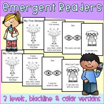 5 Senses Emergent Readers: No Prep Stories and Literacy Activities