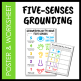 5 Senses Grounding Poster and Worksheet (Distance Learning