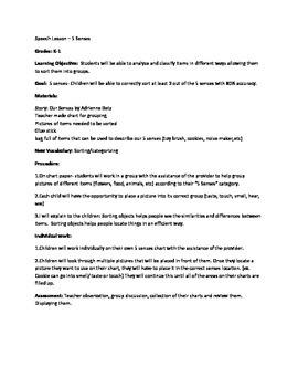 5 Senses- Lesson Plan