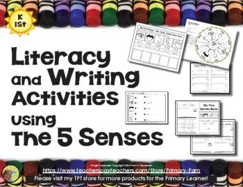 5 Senses Literacy & Writing Activities & Center  -  Common Core Aligned