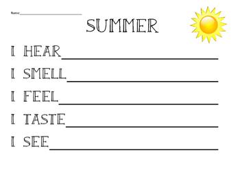 5 senses poem template summer by ooh la la classroom tpt