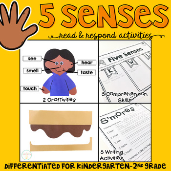 5 Senses: Reading Comprehension, Writing and Craftivities