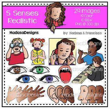 5 Senses Realistic Clip Art Set