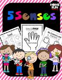 5 Senses Unit, No prep, Literacy printables, craft, games