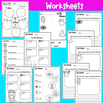 5 Senses Worksheets and Posters