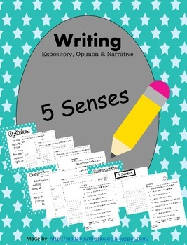 5 Senses Writing-Informative Opinion Narrative CCSS
