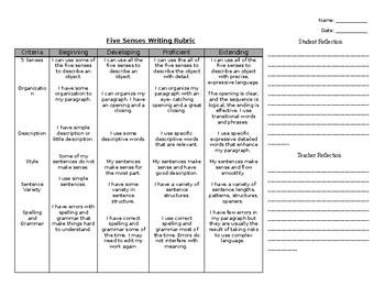 5 Senses Writing Rubric