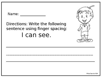 5 Senses handwriting activity using finger spacing