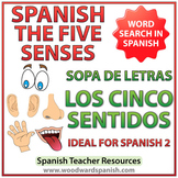 5 Senses in Spanish Word Search - Los Cinco Sentidos