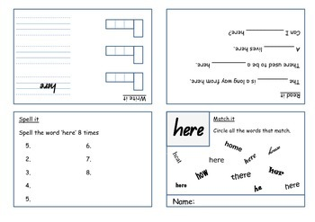 5 Sight Word Booklets he, in, here, did, you