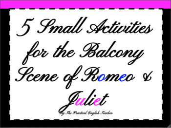 5 Small Creative Activities for Balcony Scene of Romeo and Juliet