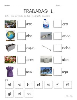 "5 Spanish ""Pick the Blend/Sound/Missing Syllable"" Cut and Paste Worksheets"