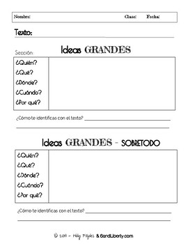 5 Spanish Questions - Big Ideas Text Organizer - Reading Comprehension Spanish