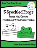 5 Speckled Frogs Paper Hat/Crown Printables with Poem Freebie
