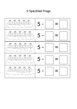 5 Speckled Frogs Subtraction