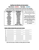 5 Spelling Tests and Practice Test Sheets