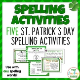 5 St. Patrick's Spelling Activity Task Cards and Print and