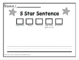5 Star Sentence Writing Paper
